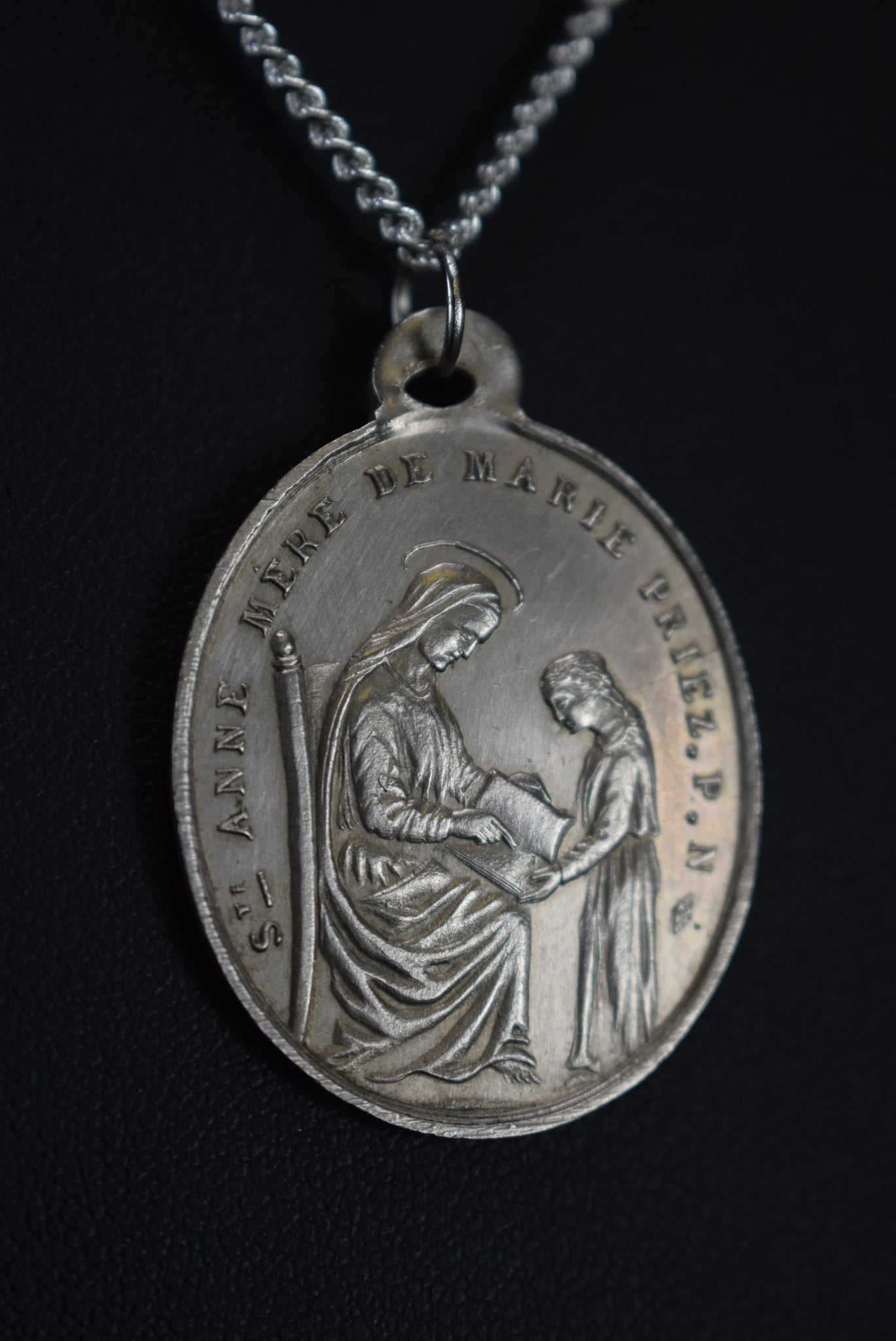 Saint Ann Medal Mary and Jesus Sacred Hearts Medal PendantSaint Ann Medal Mary and Jesus Sacred Hearts Medal Pendant
