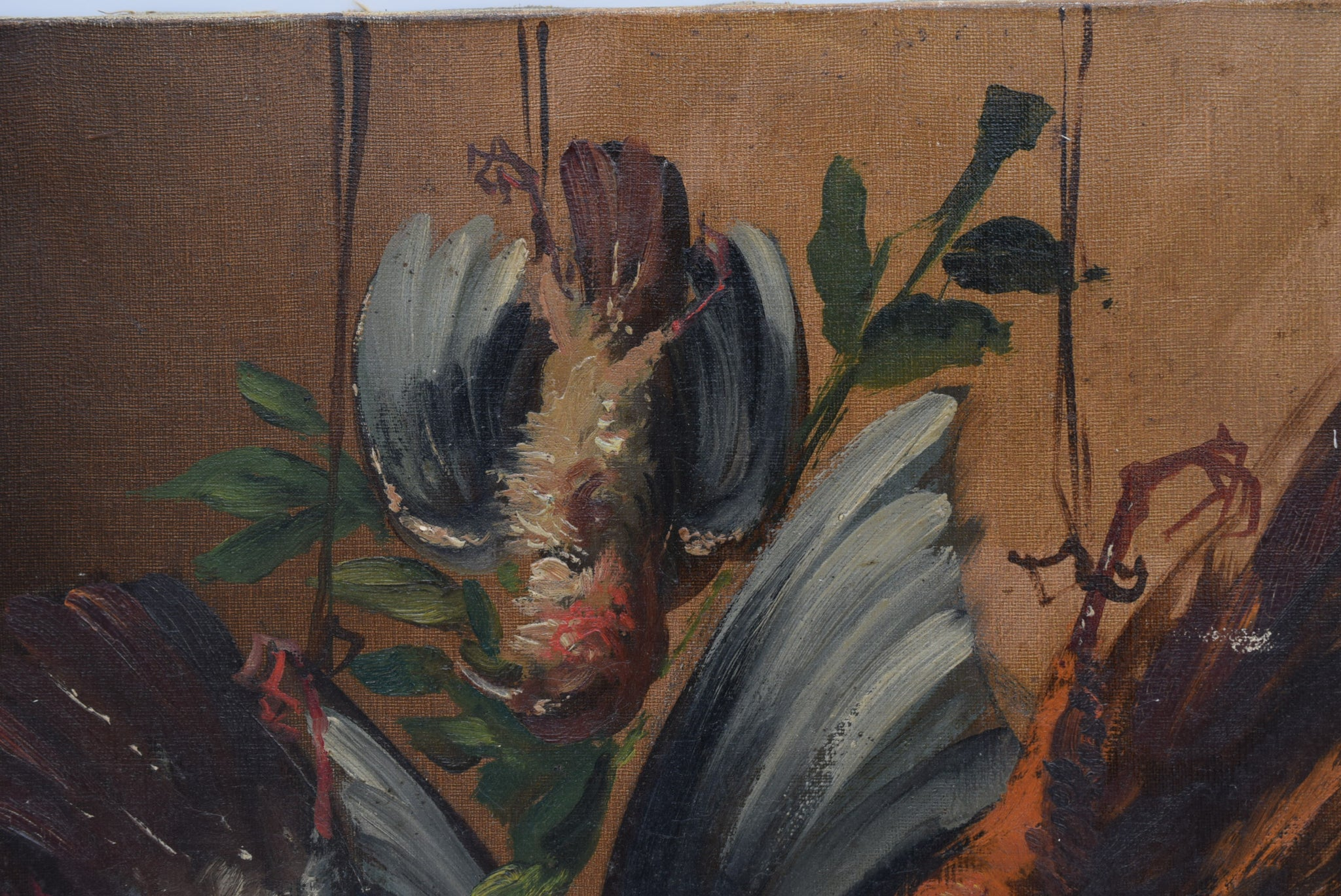 Antique Game Birds Still Life Oil Painting on Canvas Signed
