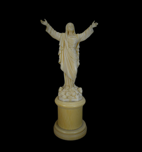 Hand Carved Ivory Virgin Mary Statue - Charmantiques