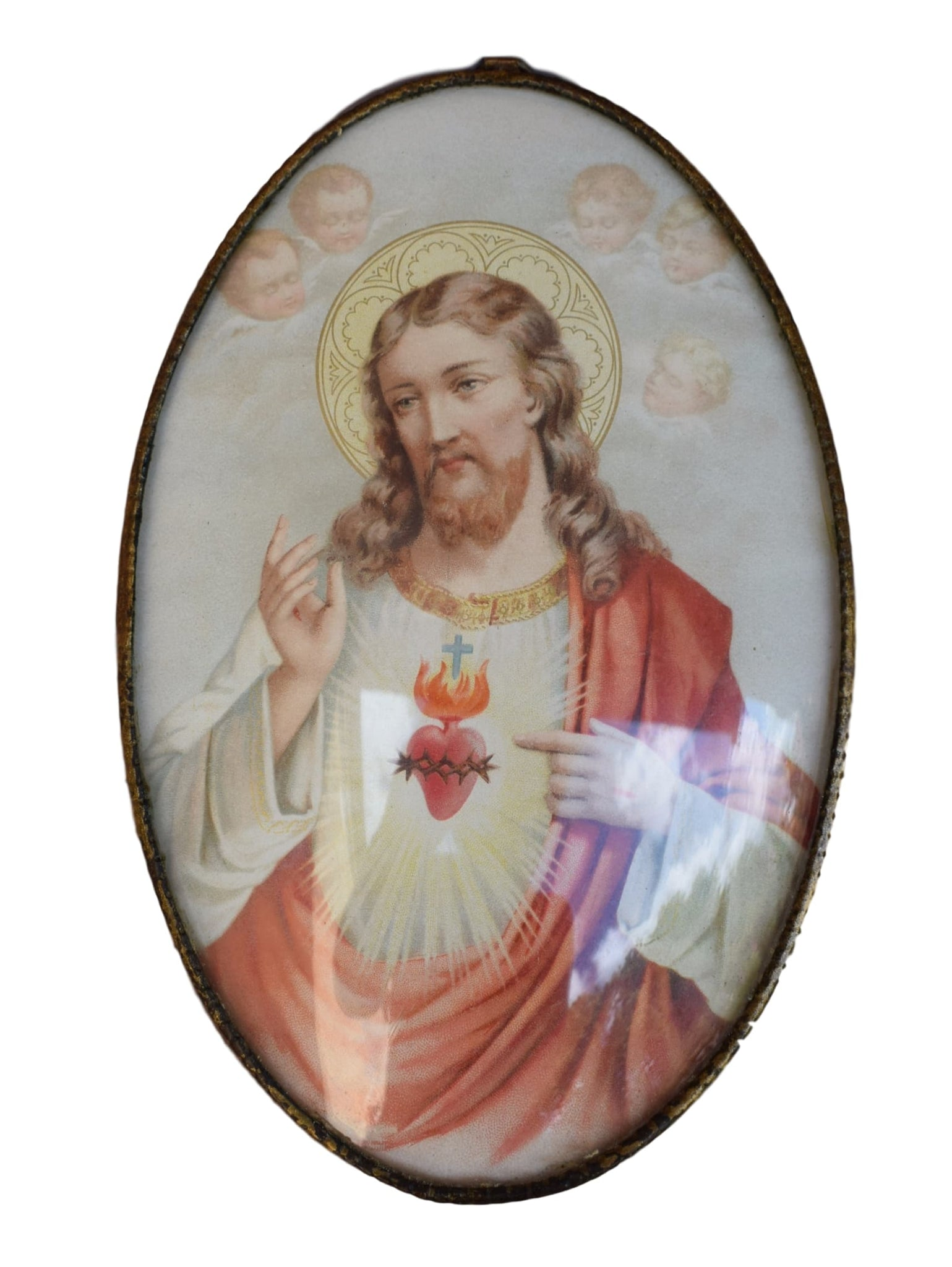 French Antique Religious Jesus Sacred Heart Wall Frame - Angel Print - Convex Glass Medallion - Communion Gift