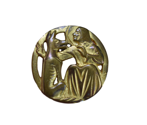Modernist Fernand PY Saint Francis and Wolf Brooch