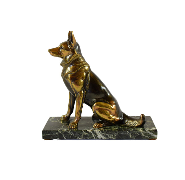 French Vintage Marble German Sheperd Dog Statue Sculpture