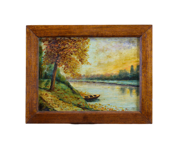 Vintage Oil Painting Bark Fall Autumn