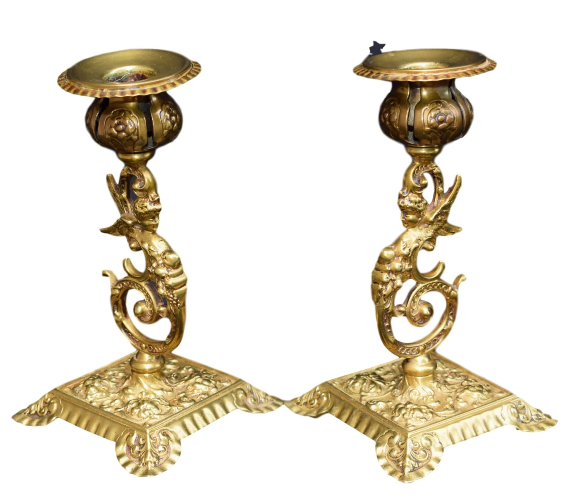 Pair of French Antique Ormolu Bronze Neo Classical Winged Woman  Candlesticks - Charmantiques