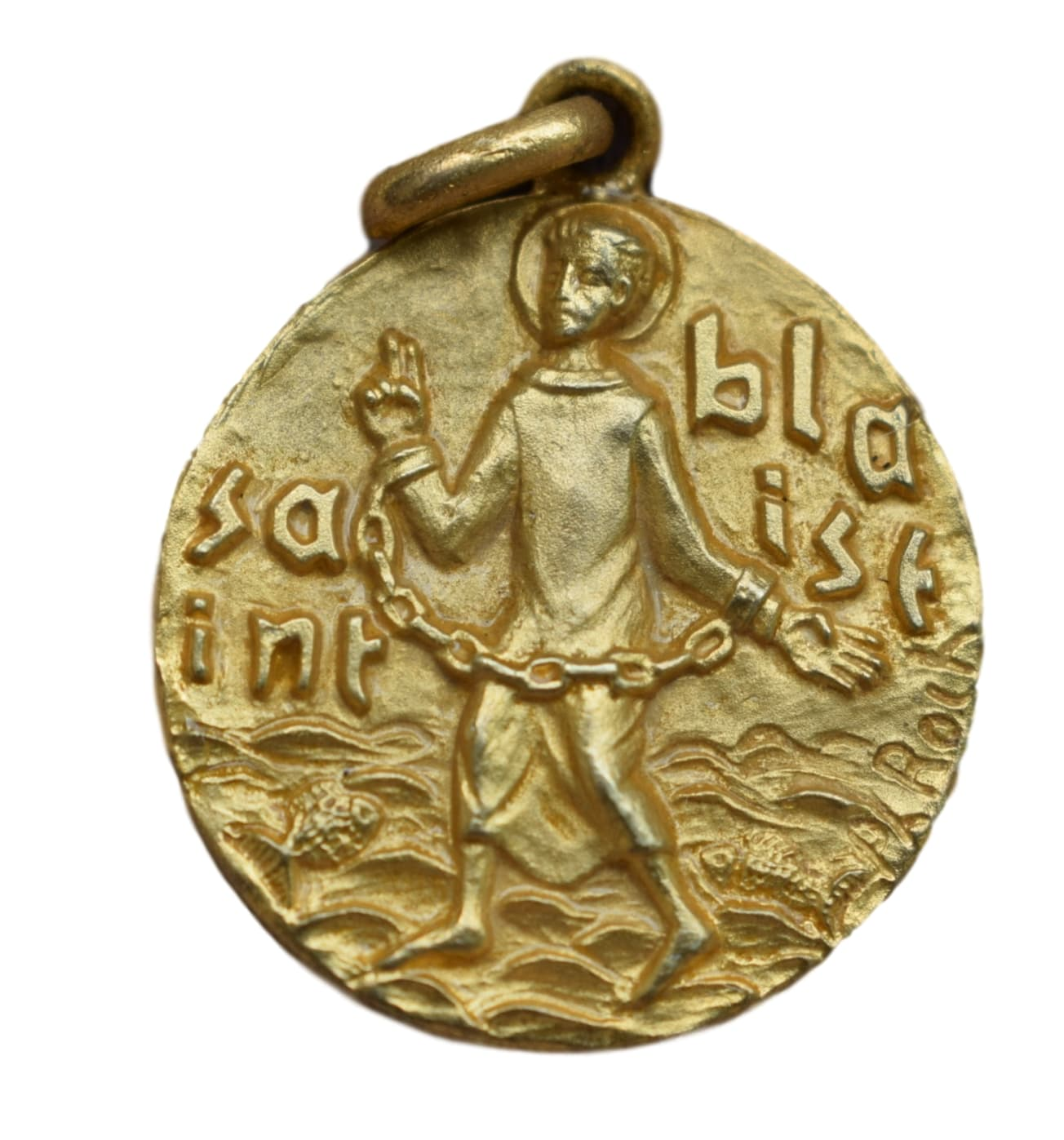 Saint Blaise Medal - French Religious Vintage Gold Medal Pendant Charm by Philippe Roch - Saint Patron of Throat Ailments