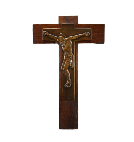 Vintage Bronze and Wood Wall Crucifix by Legrand