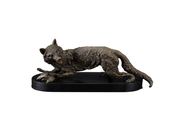 Antique Hunting Fox and Game Bird Sculpture Animal Statue