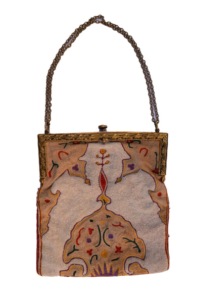 Beautiful French Antique Embroided Steel Bead Purse - 1930's Vintage Beige Hand Made Hand Bag - French Fashion Purse Bag Paris Embroidery