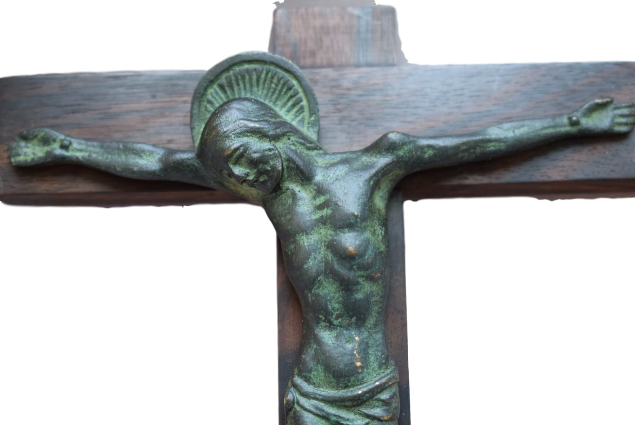 French Art Deco Religious Hartmann Bronze Wall Cross - Charmantiques