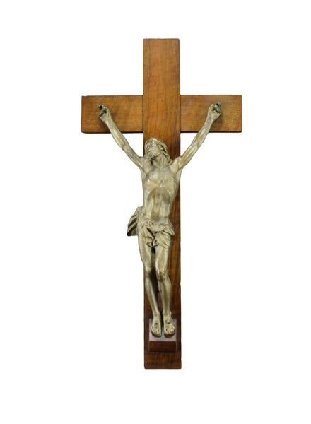 Antique French Large Vintage Wall Crucifix Cross