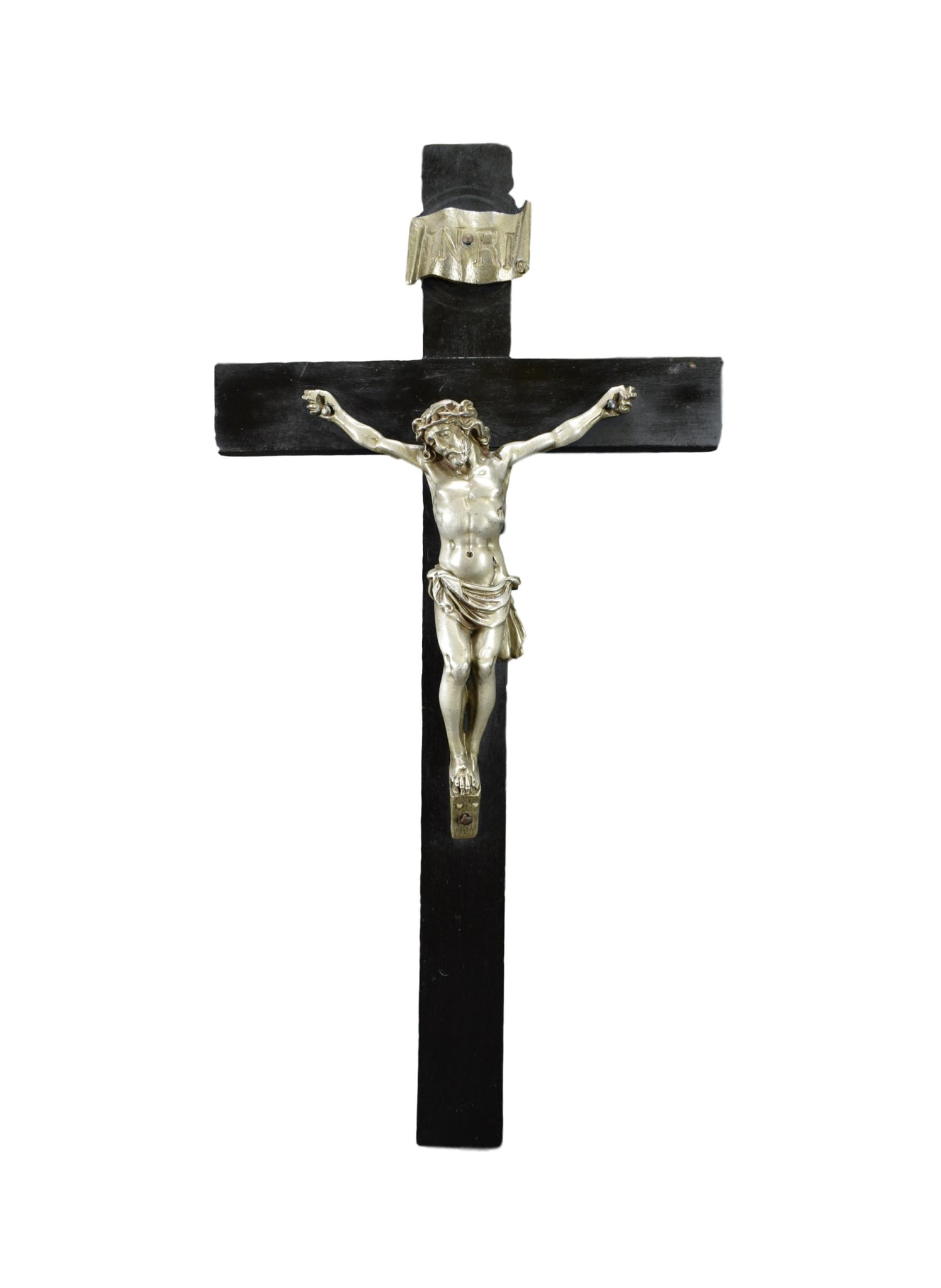 French Black & Silver Wood Wall Cross Crucifix