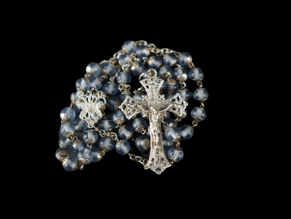 French Frosted Blue All Capped Glass Beads Silver Rosary