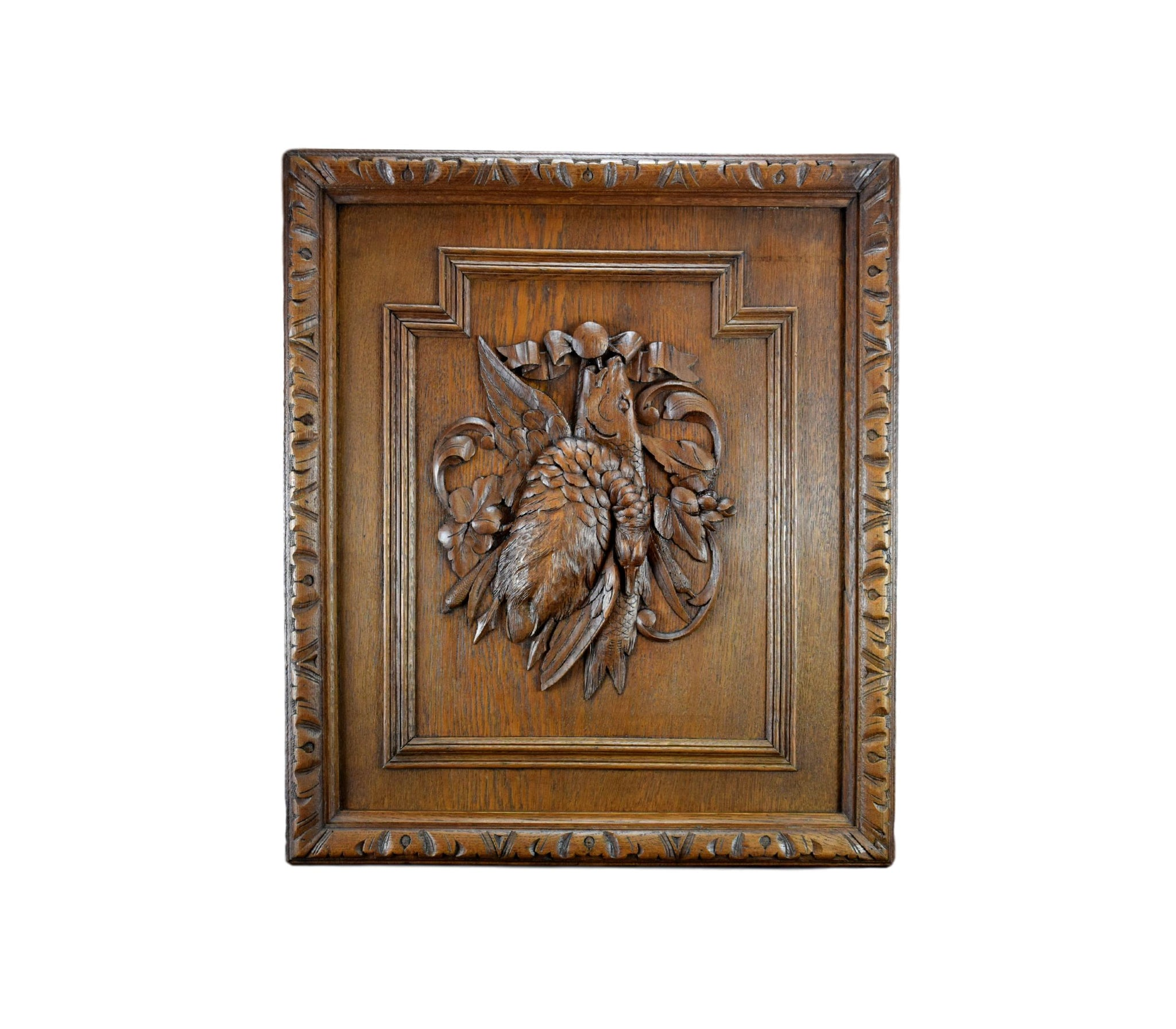 Black Forest Carved Wood Hunting Trophy Wall Panel Game Bird & Fish Plaque