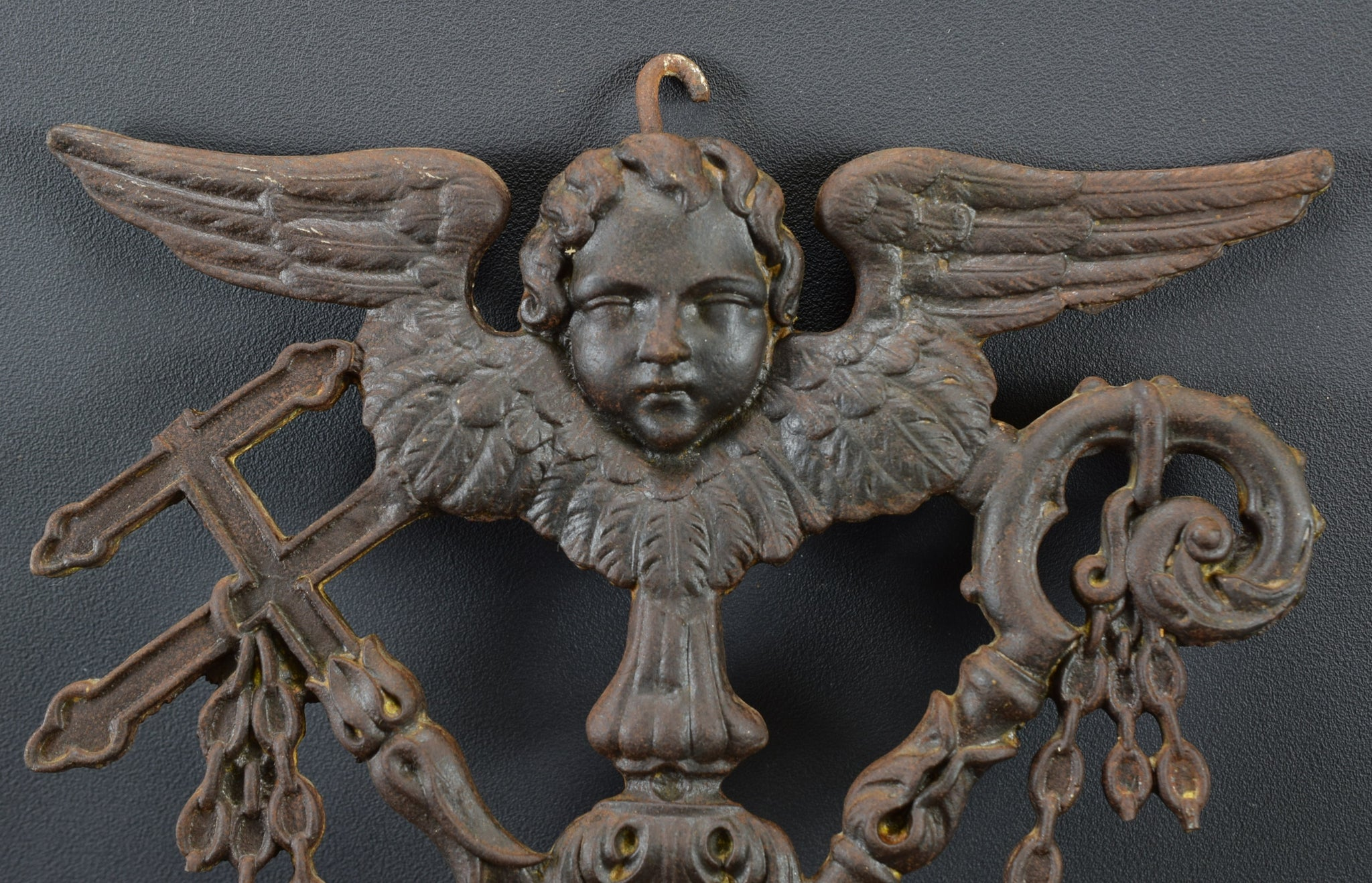 French Antique Cast Iron Angel