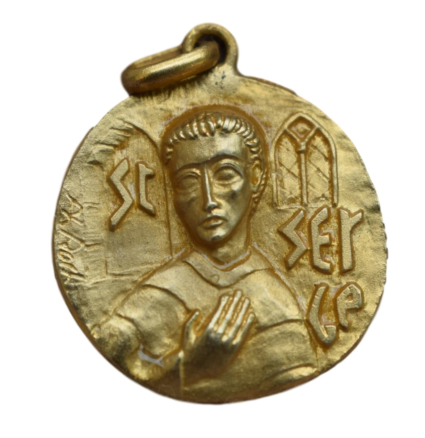 Orthodox Saint Serge Medal - French Religious Vintage Gold Medal Pendant Charm by Philippe Roch - Modernist Design Medal