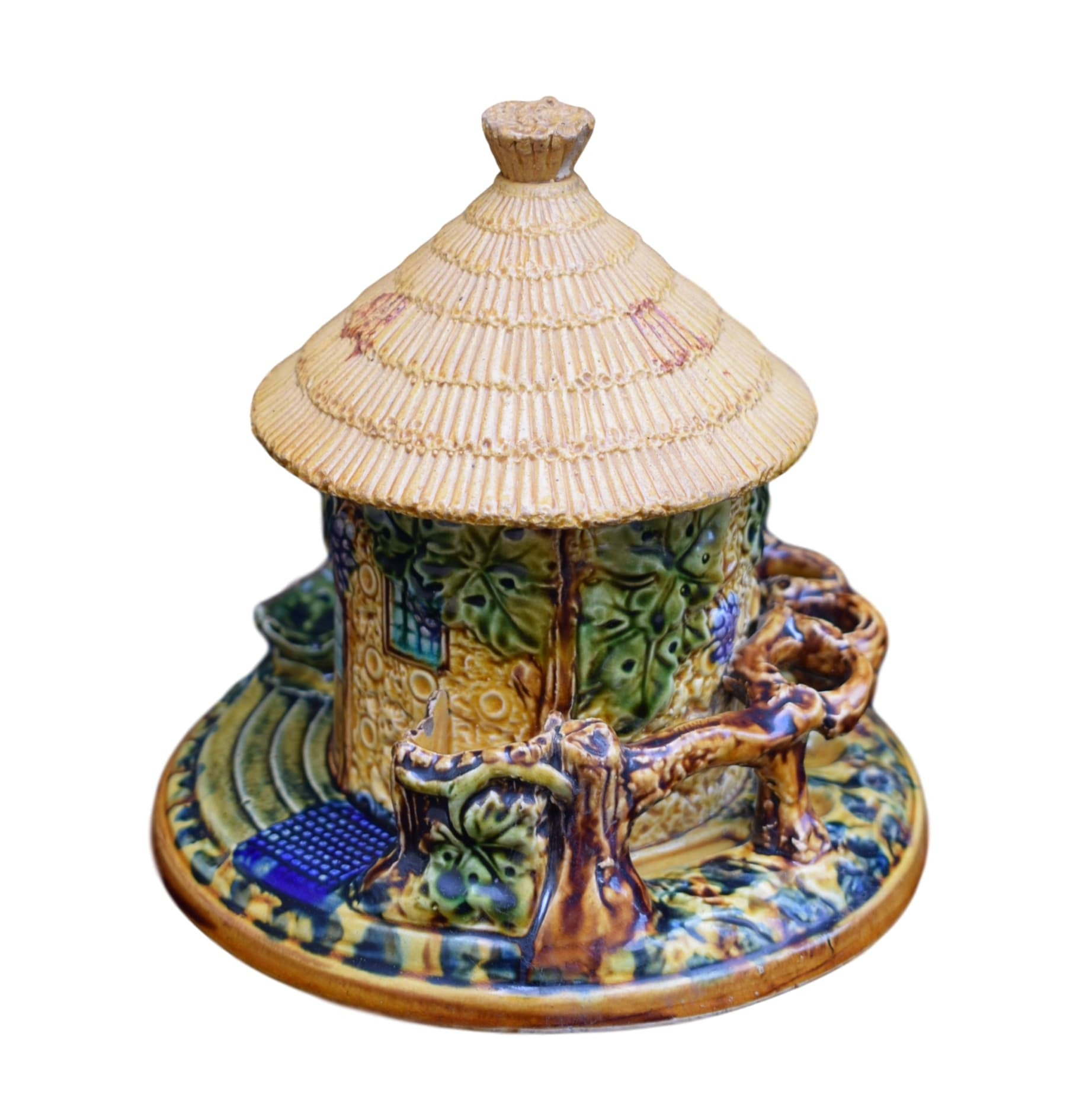 French Antique Majolica Tobacco Jar and Pipe Holder Depose M - Charmantiques