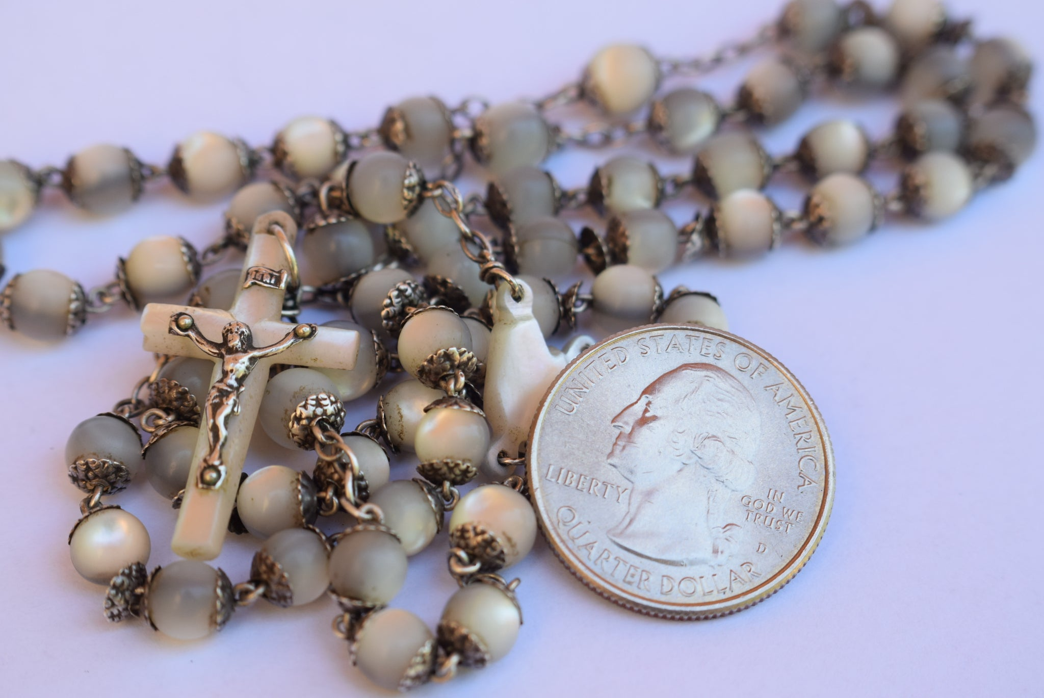 All Capped Mother of Pearl Beads & Sterling Silver Rosary - Charmantiques
