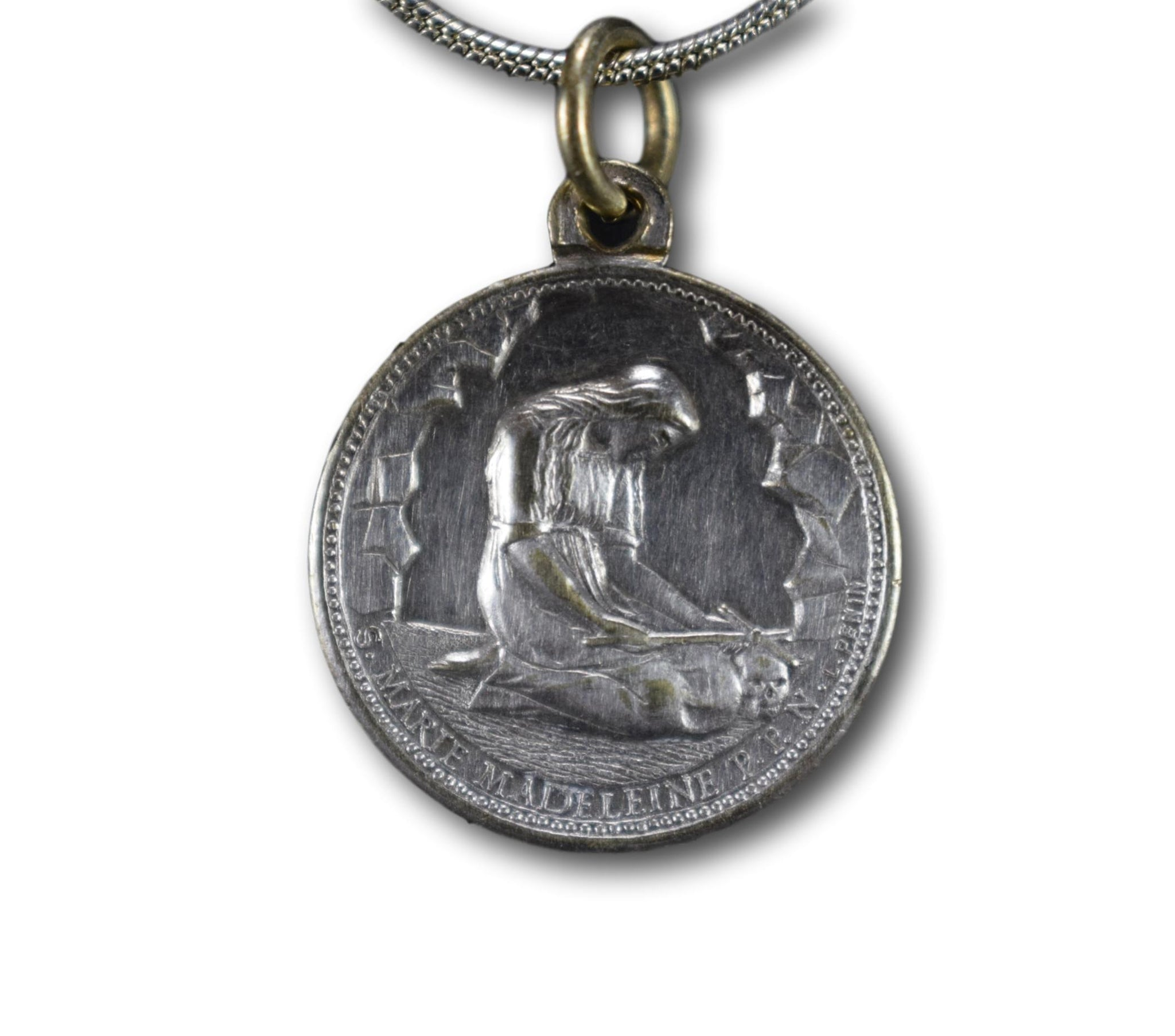 Antique French 19th.C Saint Mary Magdalene Medal by L Penin Pendant Necklace