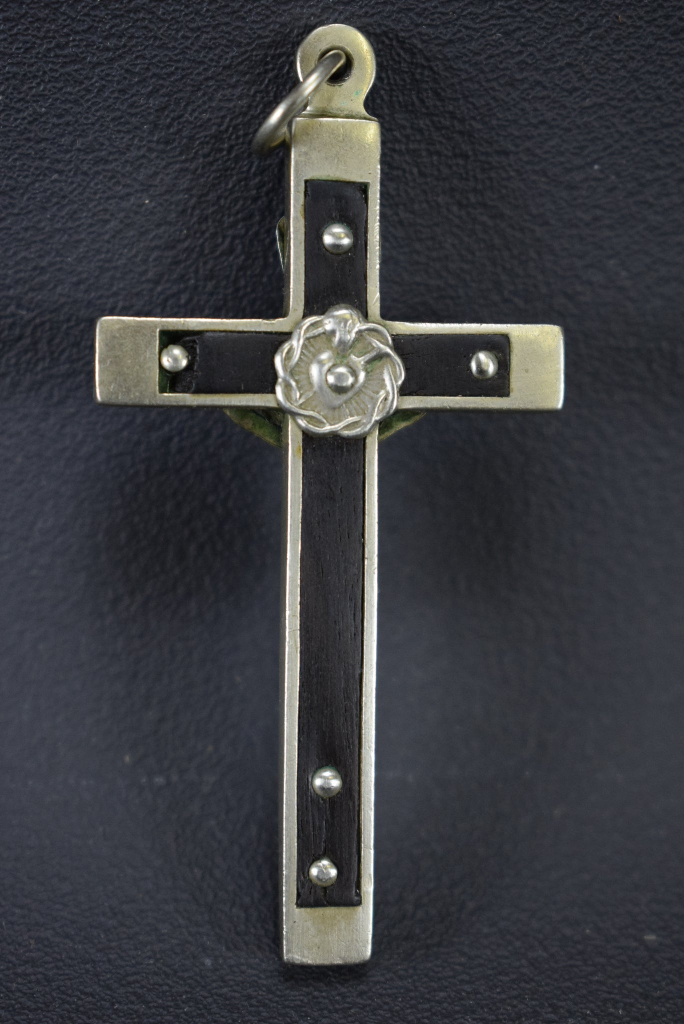 Metal & Wood Crucifix Pendant - Charmantiques