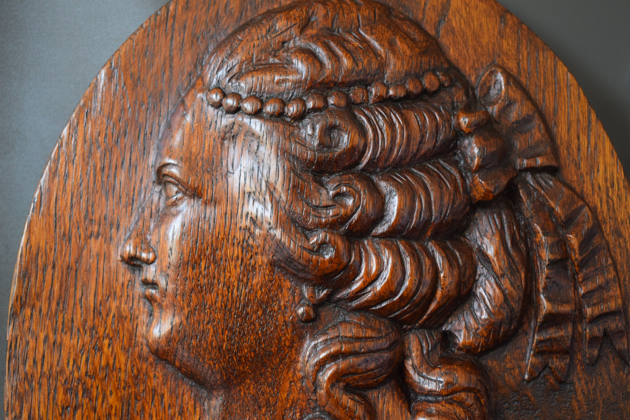 Antique French Hand Carved Oak Wood Wall Medallion Panel with Profile Portrait of a 18th Century Noble Lady Woman