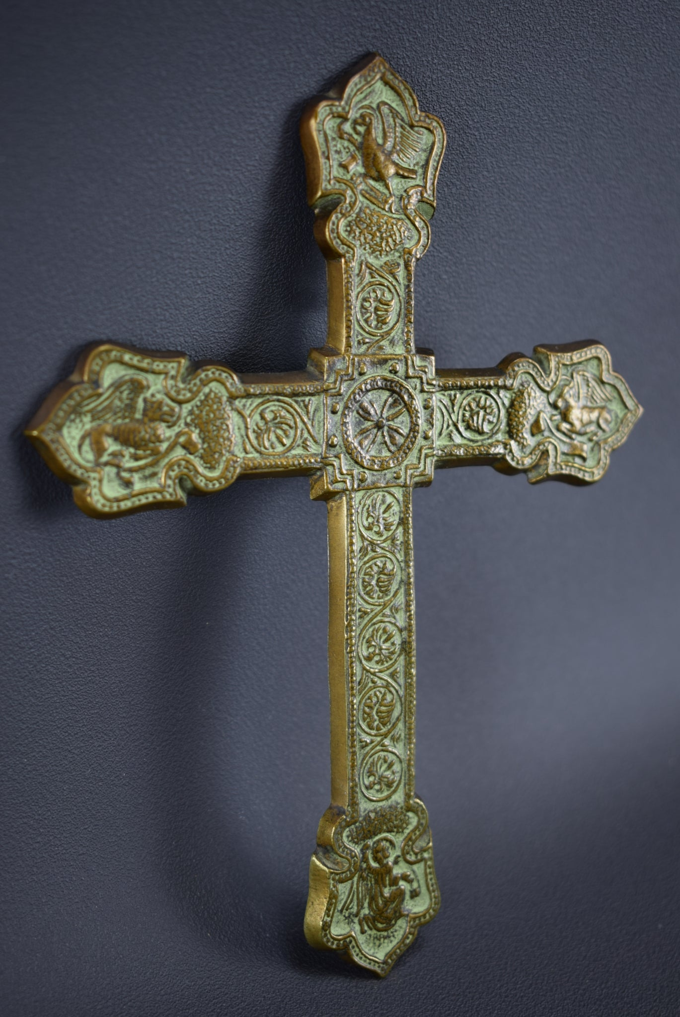 French Vintage Bronze Wall Crucifix Cross By Max Le Verrier Apostles