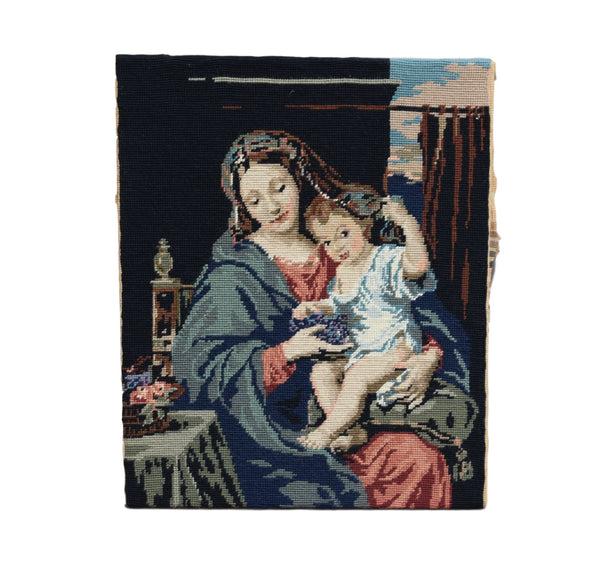 French Vintage Madonna and Child Handmade Tapestry -  Needlepoint Canvas Wall Hanging Tapestry - Religious Hand Embroidery