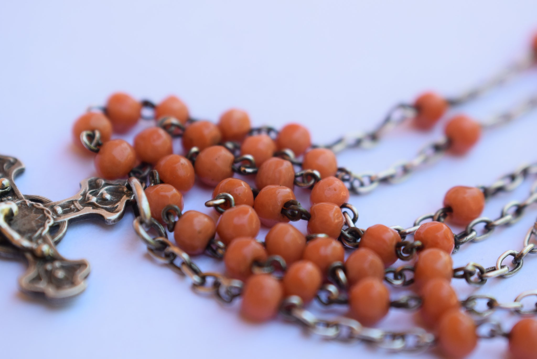 Sterling Silver Coral Beads Rosary - Charmantiques