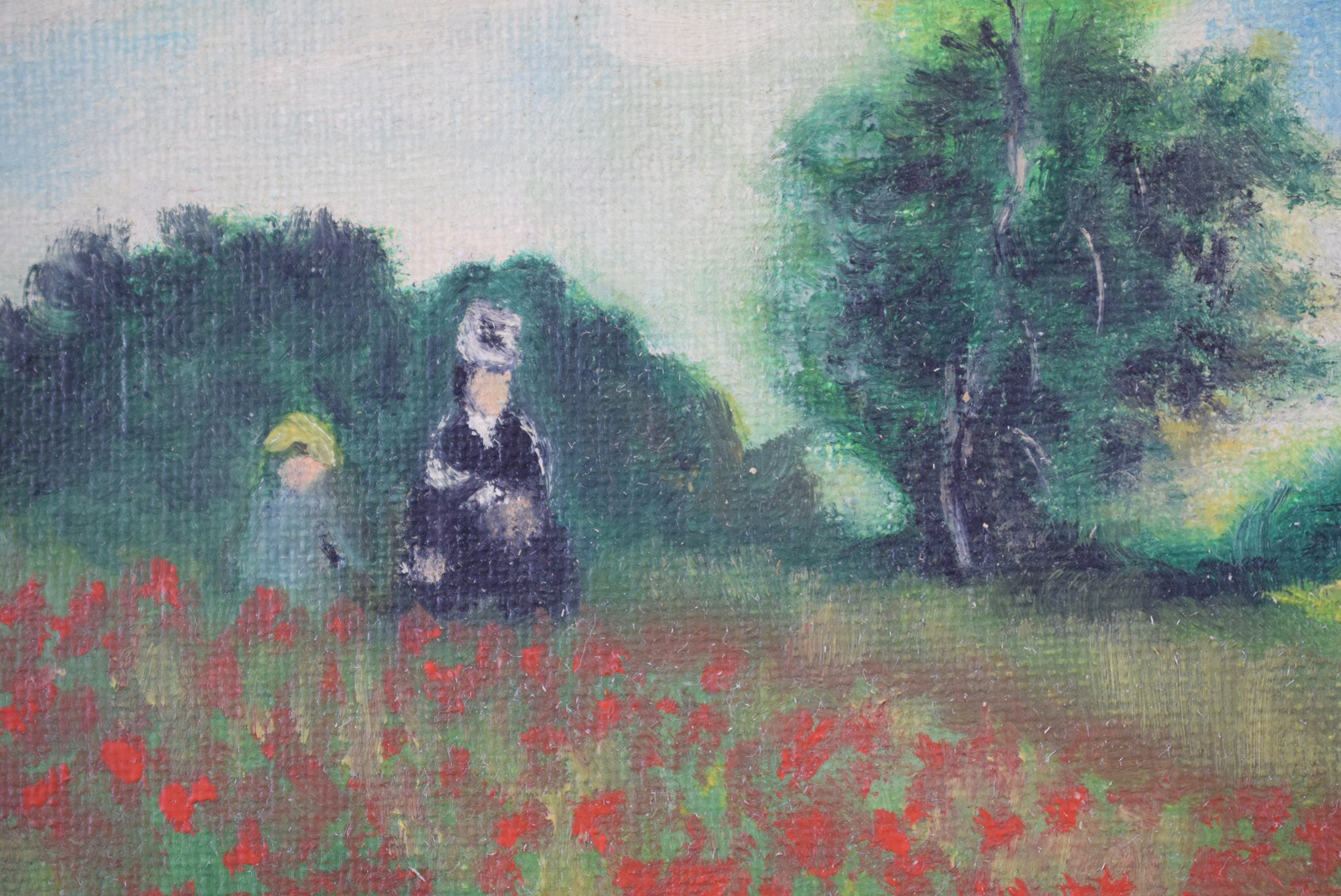 Poppy of Claude Monet French Vintage Oil Painting on Canvas Signed Poppy Field