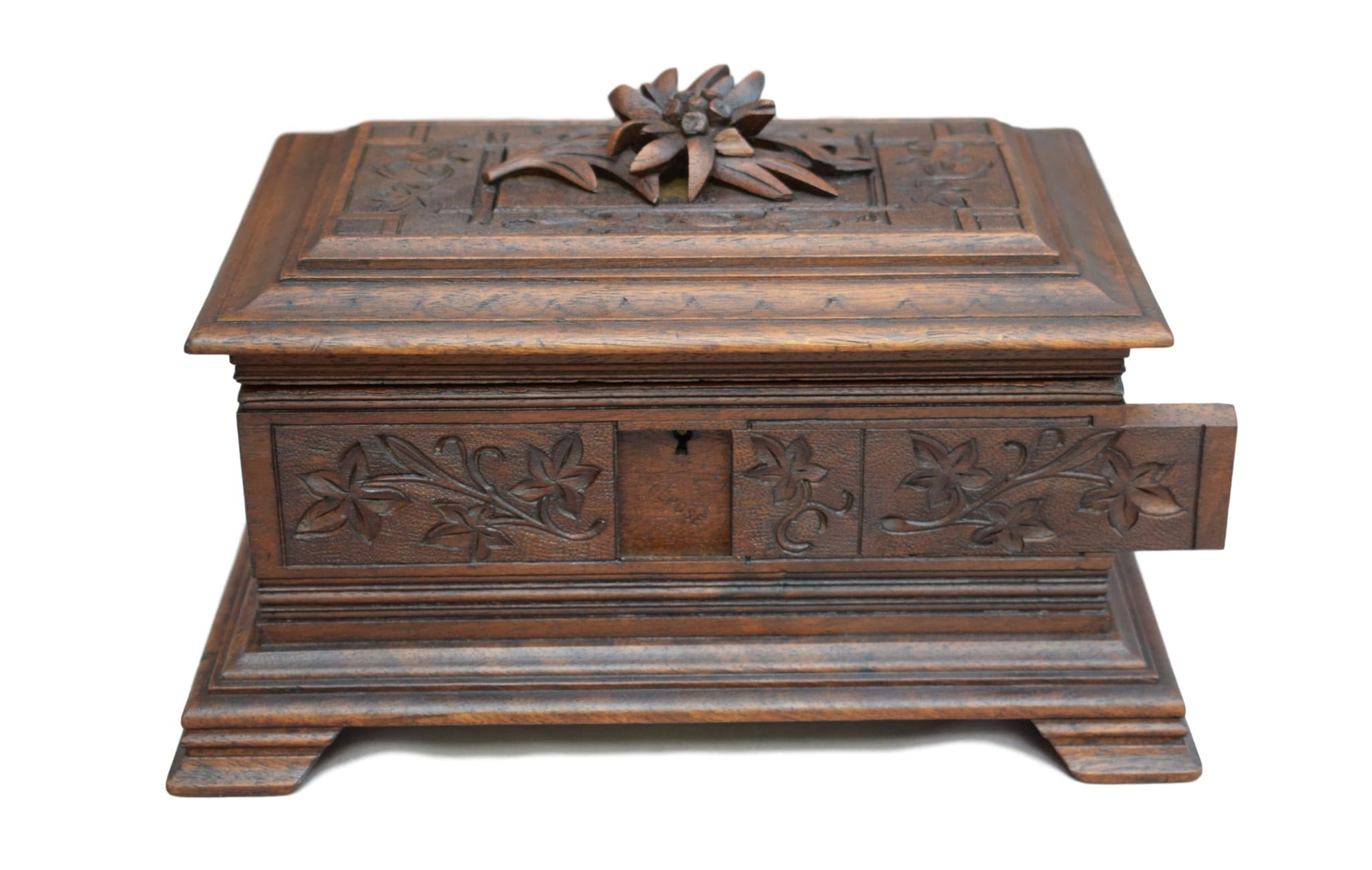French Antique Black Forest Hand Carved Walnut Wood Jewelry Box - Charmantiques