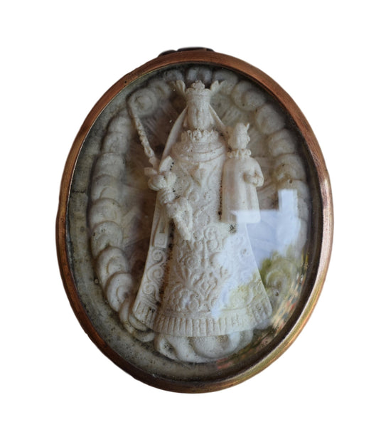 Madonna and Child Reliquary Pendant - French Antique Carved Mary Reliquary Pendant Medallion Medal - Meerschaum Communion Gift