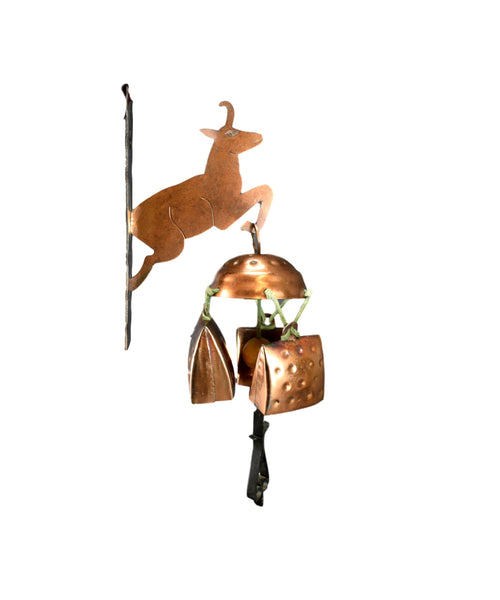 Vintage French Copper Windchime Set Chamois Mountain Door Bell