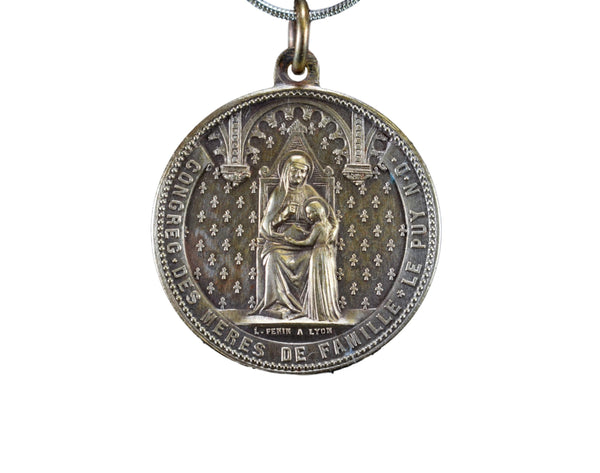 Antique French 19th.C Saint Ann and Saint Monica Medal Pendant Charm by L Penin