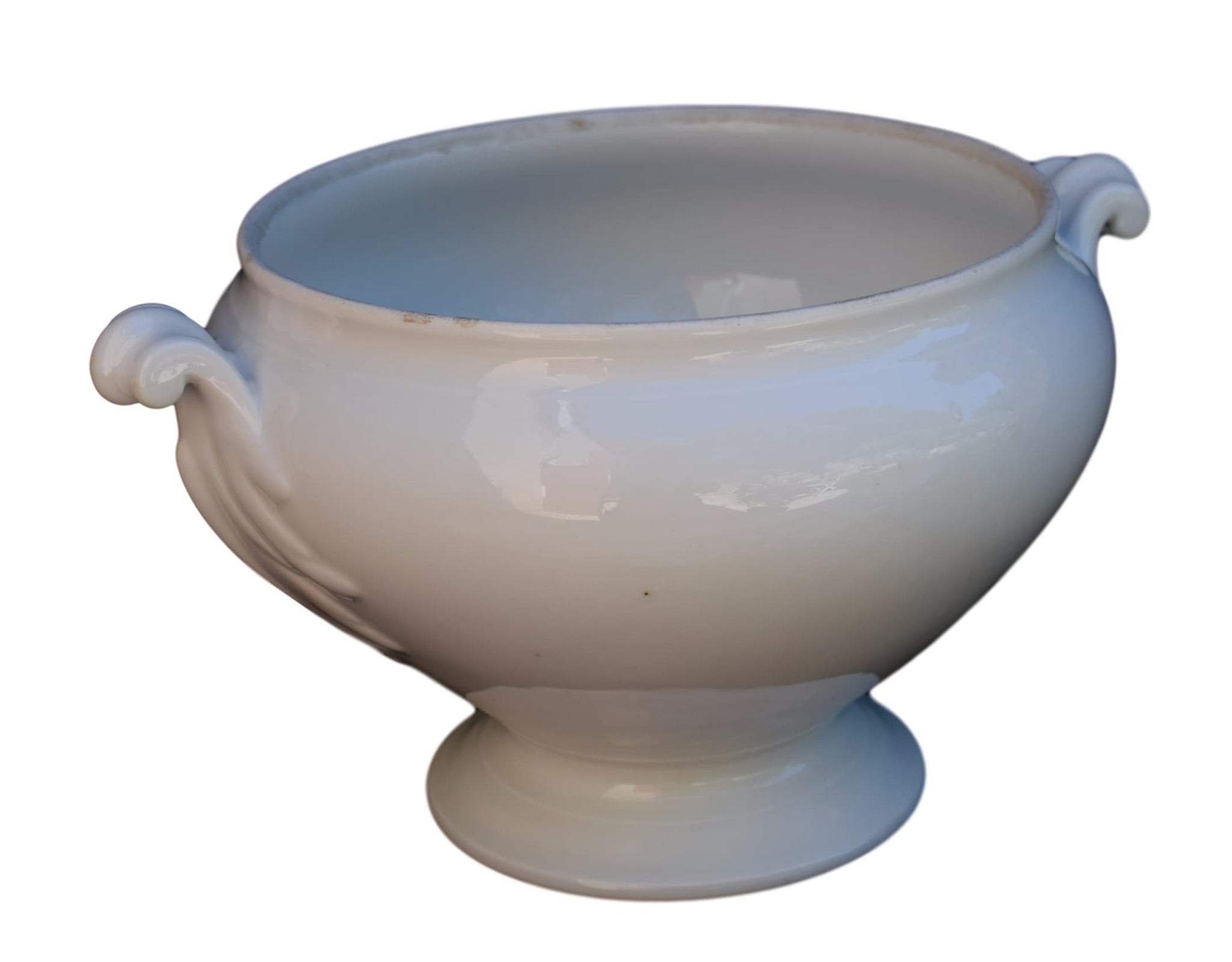 White Ironstone Tureen Vase - Charmantiques