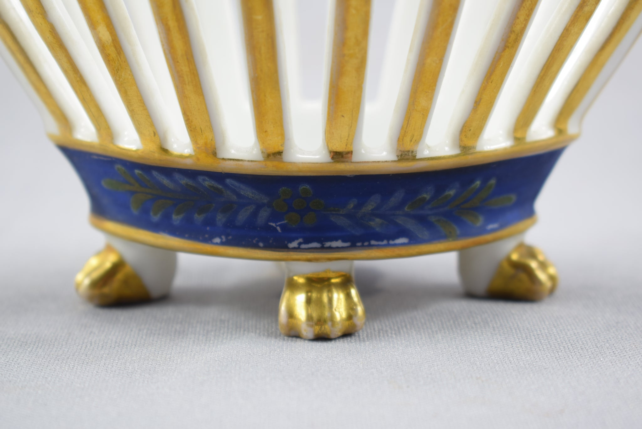 Old Paris Porcelain Reticulated Basket Vase Gold & Blue