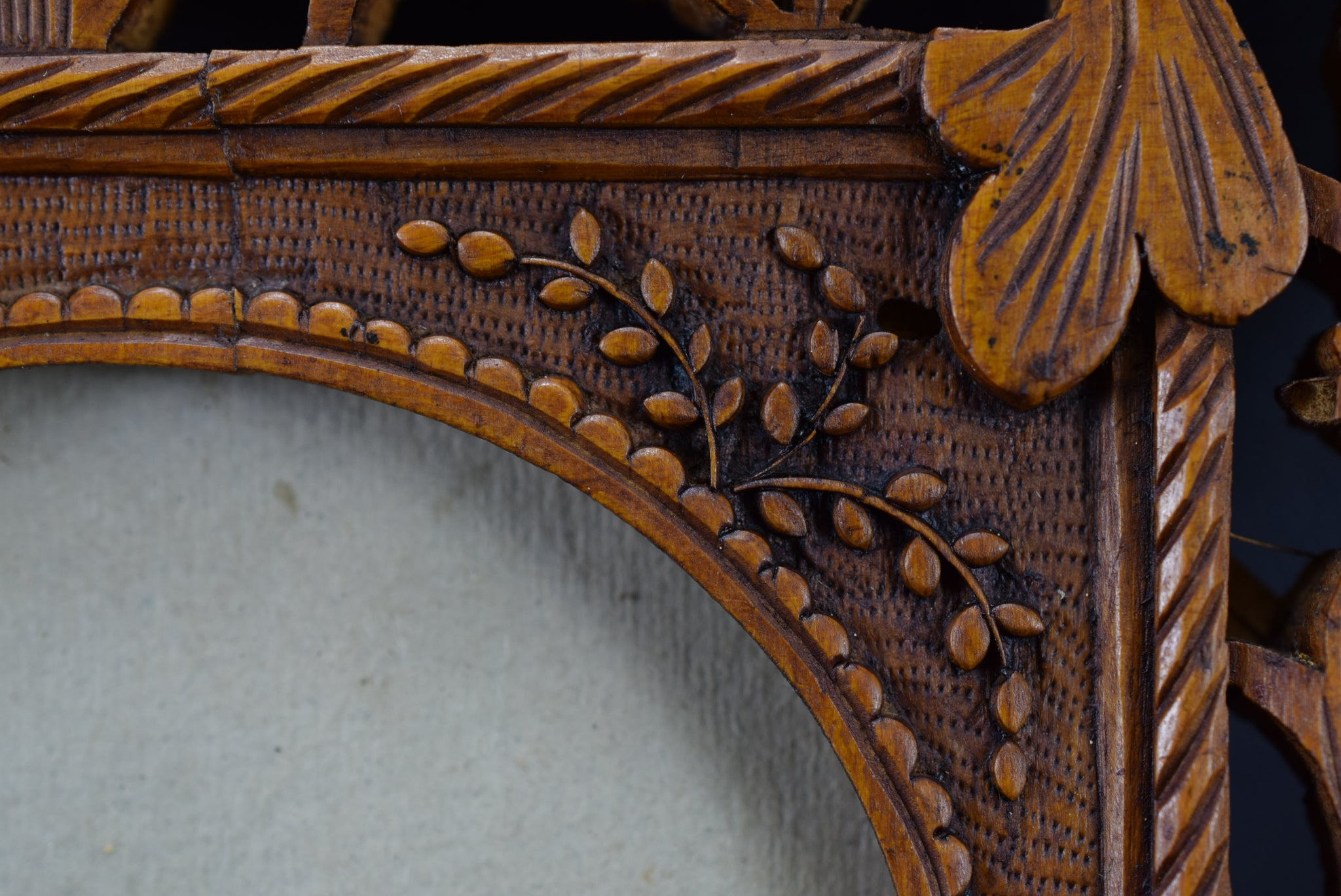 Vintage Hand Carved Wood Wall Photo Frame Indochine