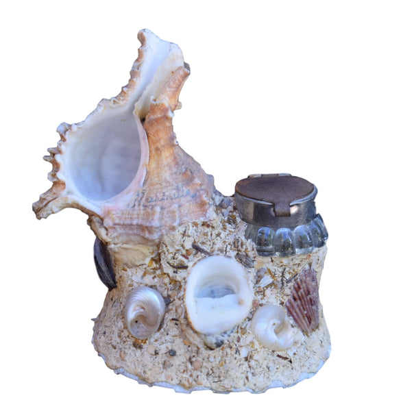 French Vintage Seashell Inkwell - Hand Made French Beach Souvenir - Marseille Souvenir Desk Organizer Sea Shell Art