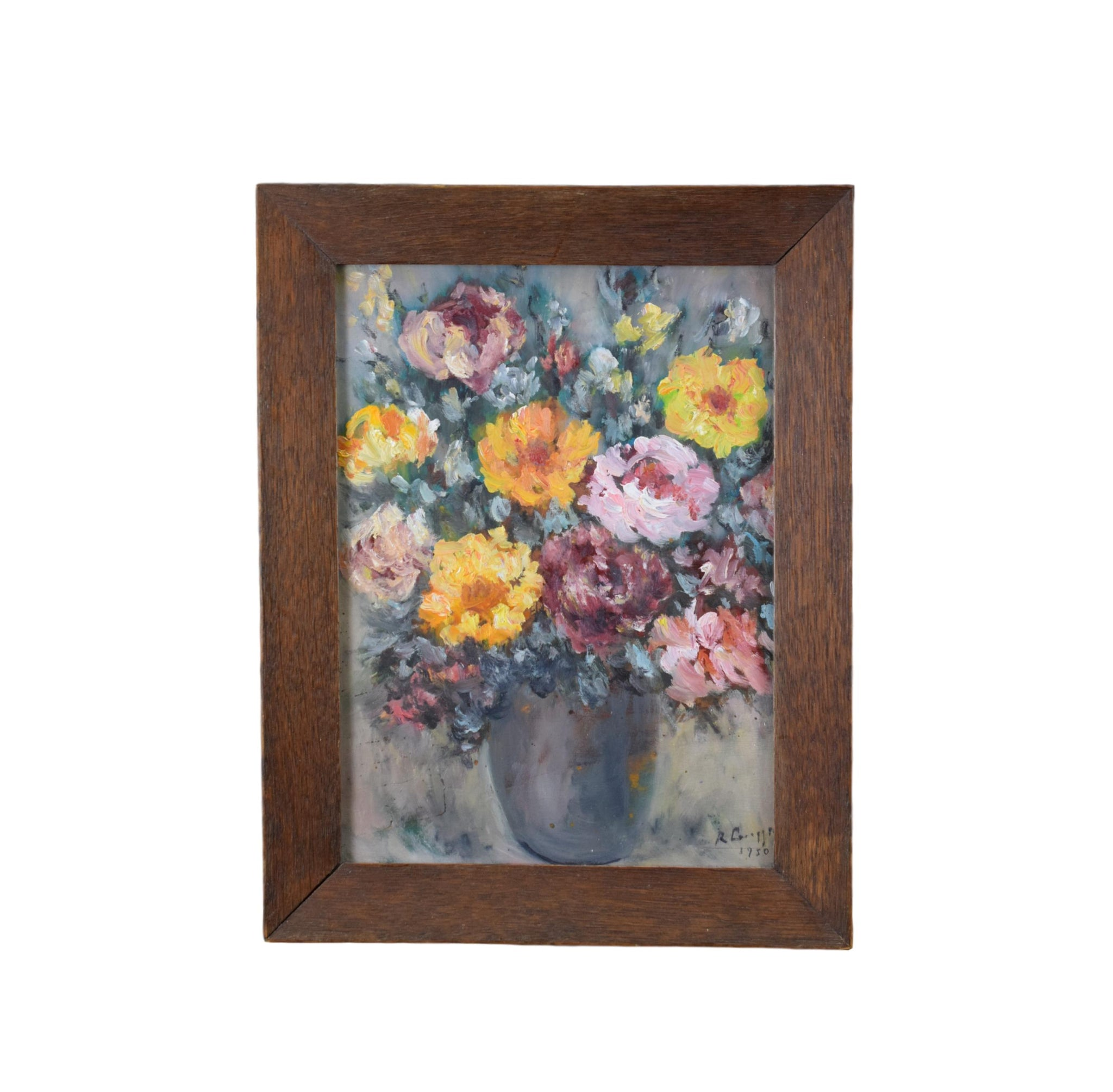 French 1950's Oil Painting Bunch of Flowers Signed Framed
