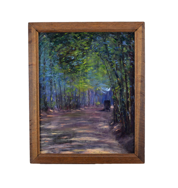 Impressionist Signed Oil Painting Forest Car 1915