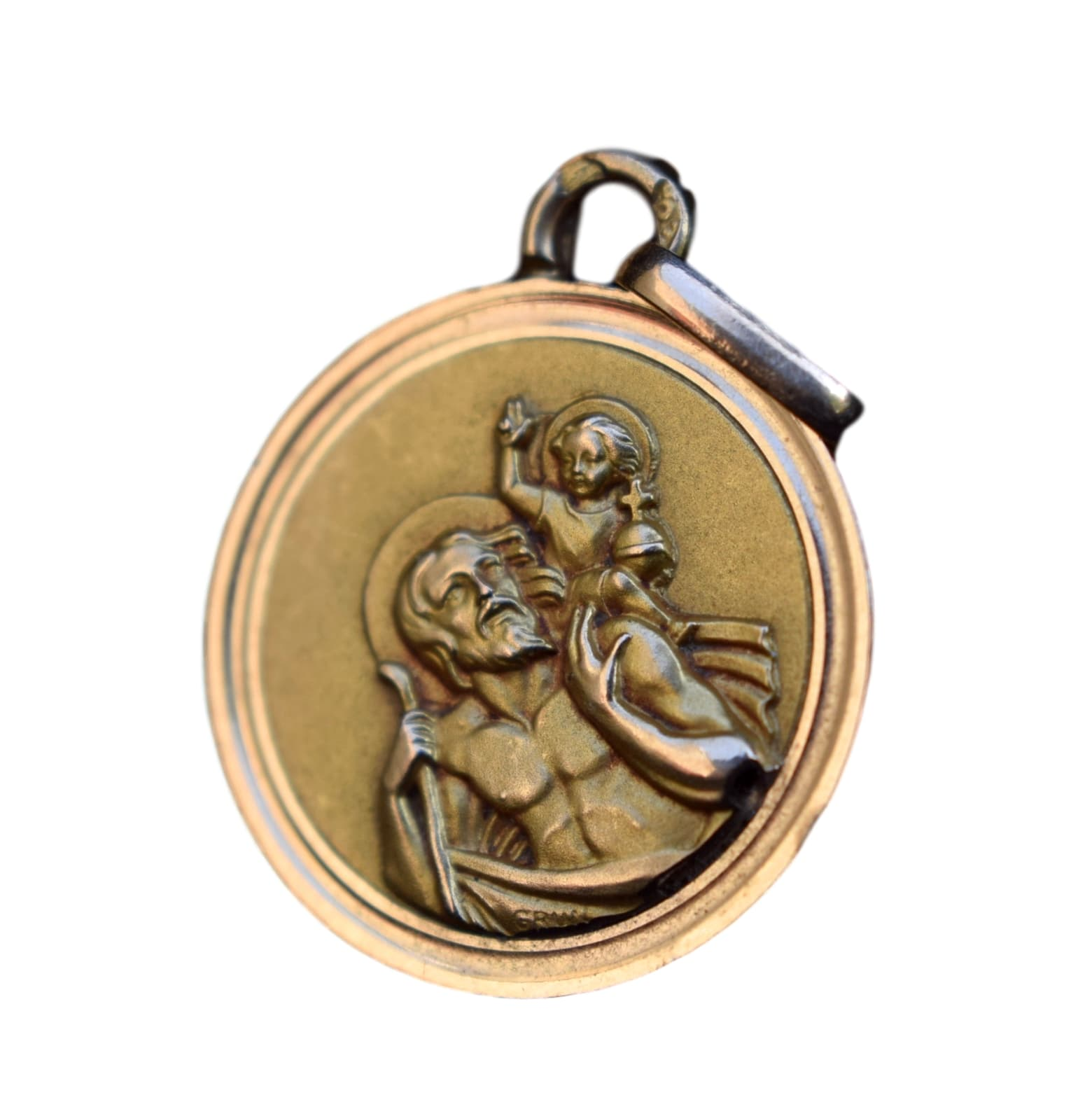 18K Gold St Christopher - Charmantiques