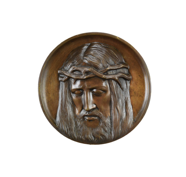 Holy Face of Jesus Bronze Plaque - Charmantiques