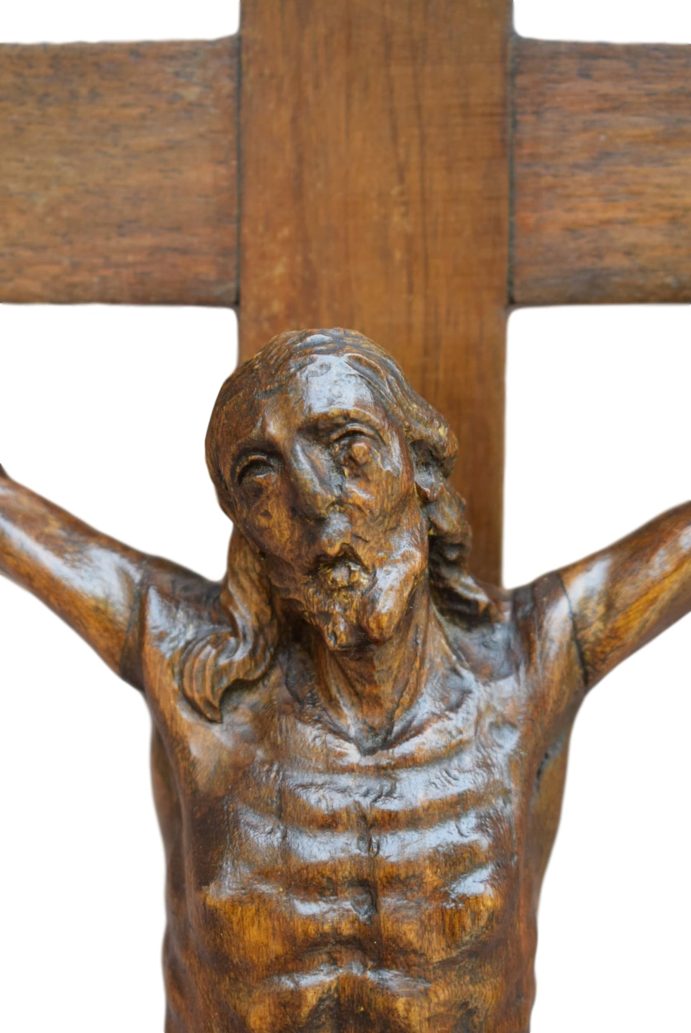 Carved Wood Crucifix - Charmantiques