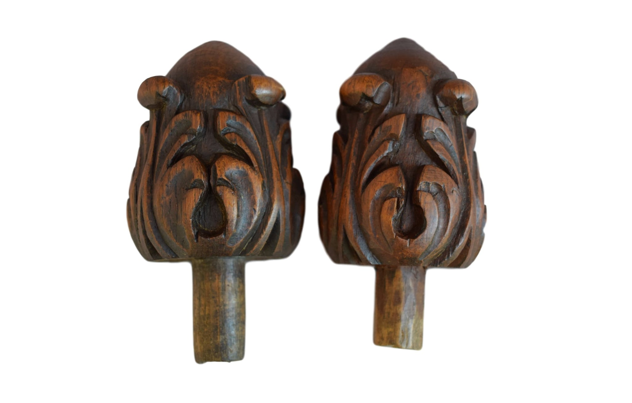 French Antique Pair Hand Carved Wood Finials - Charmantiques