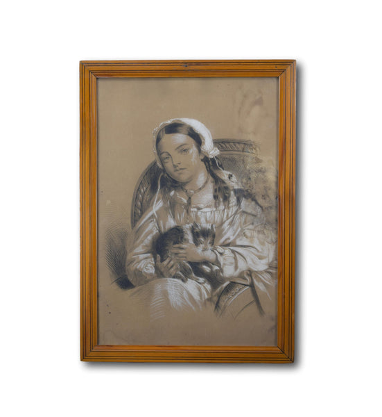 19th.C Lady and Cat Drawing - Charmantiques