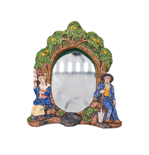 Vintage Majolica Frame Wall Mirror by CH Jaubert