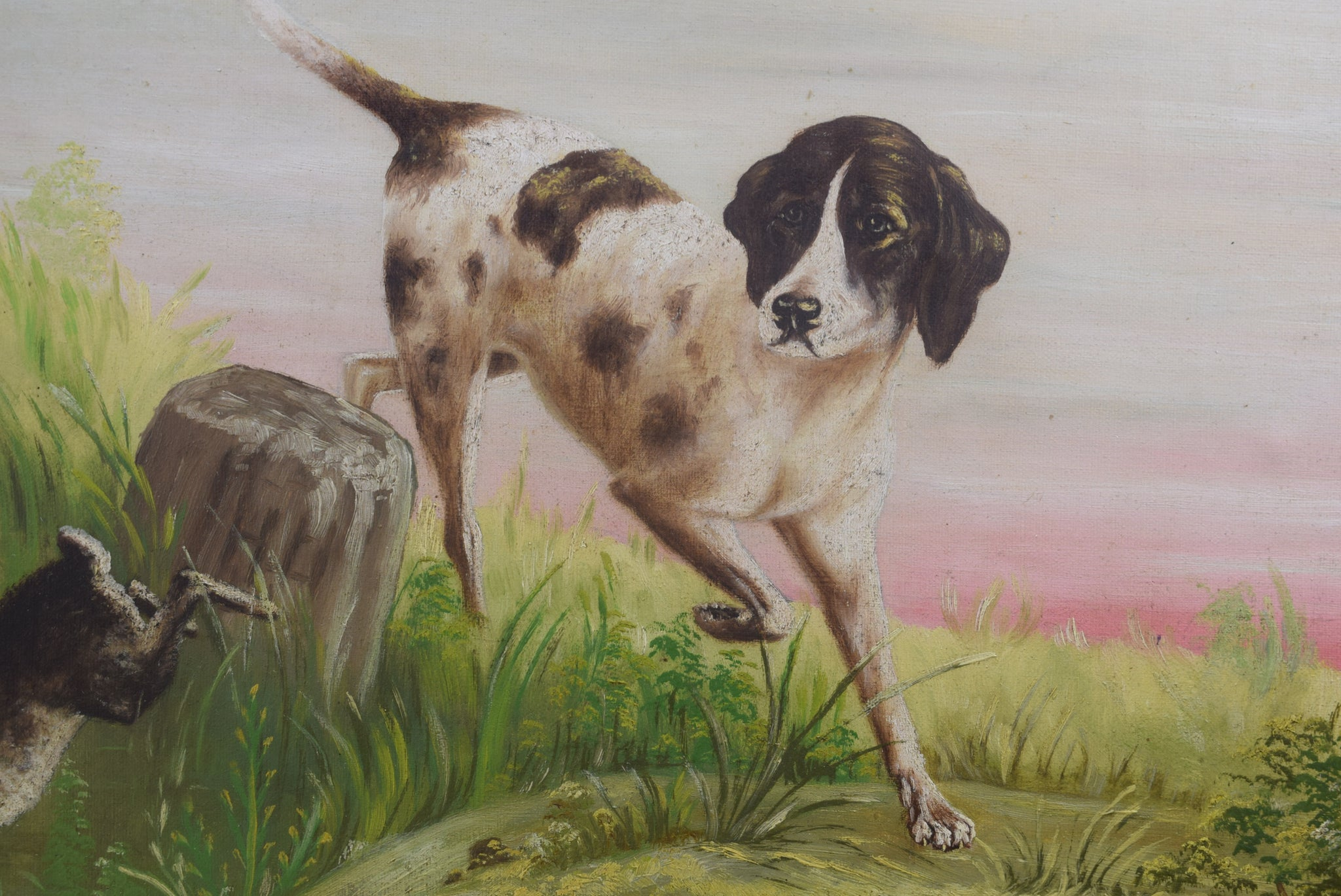 Hunting Dog Painting Signed Bardini - Charmantiques