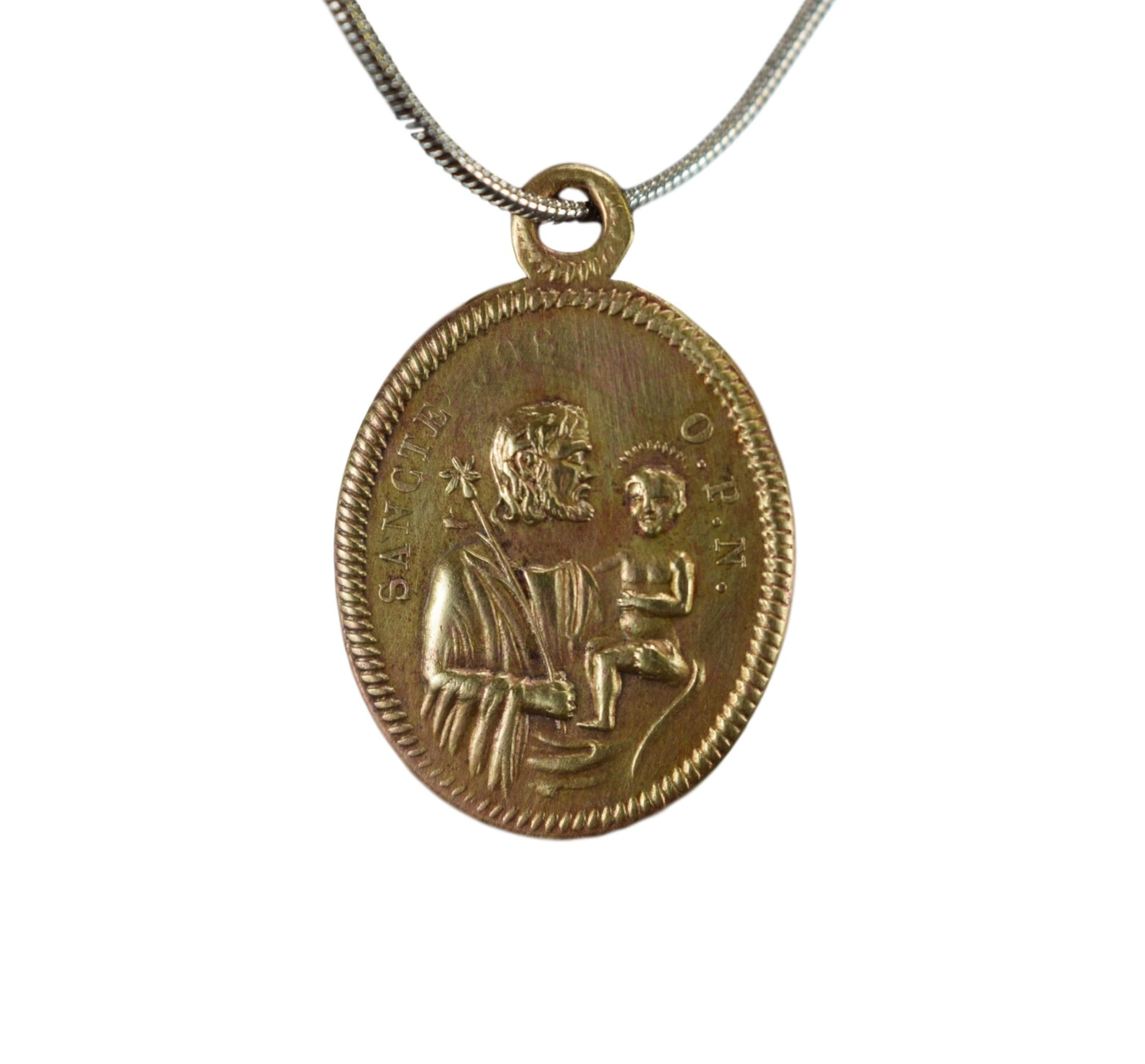 St Joseph & Our Lady of Divine Providence Medal - Charmantiques