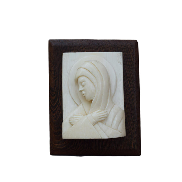 French Antique Religious Marian Art Saint Figurine - French Mary Ivory Portrait Wood Sculpture Carving Signed Loleka