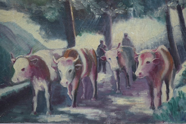 French Vintage Herd of Cows  Oil Painting on Panel - Charmantiques