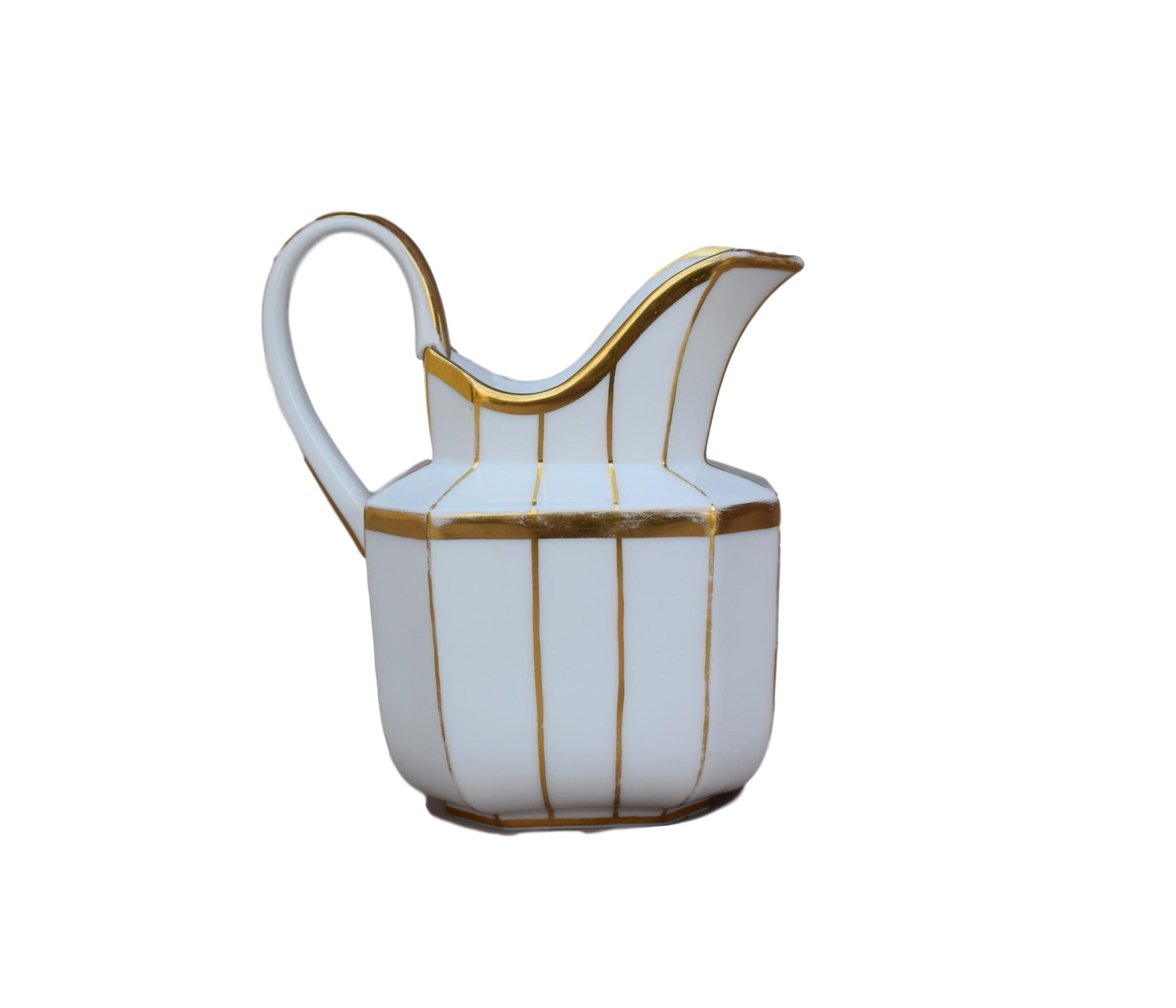 French Antique Vieux Paris Porcelain Milk Jug - White and Gold Bands Louis Philippe Style China - Elegant Chic Porcelain Water Pitche