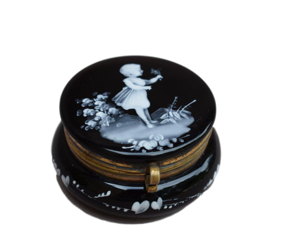 Mary Gregory Pill Box - Charmantiques